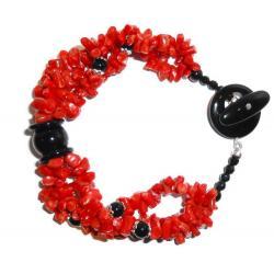 Bracciale in Corallo Rosso e Onice Donna CR010
