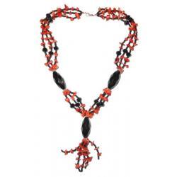 Collana in Corallo Rosso e Agata Nera Donna CR114