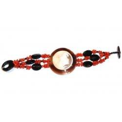Bracciale in Corallo Rosso e Onice con Cammeo Donna CR201