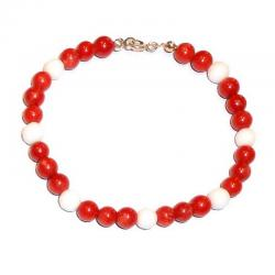 Bracciale in Corallo Rosso e Agata Bianca Donna CR207