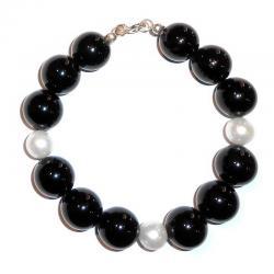 Bracciale in Onice e Perle Bianche Donna CR209