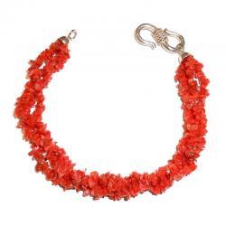 Bracciale in Corallo Rosso e Argento Donna CR213