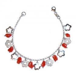 Bracciale in Corallo Rosso e Argento Donna CR214