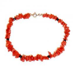 Bracciale in Corallo Rosso e Onice Donna CR217