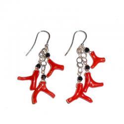 Orecchini in Corallo Rosso Onice e Argento Donna CR229