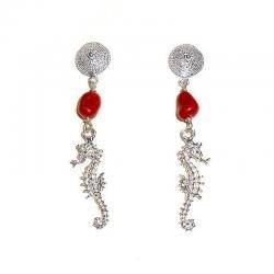 Orecchini in Corallo Rosso e Argento Ippocampo Donna CR230