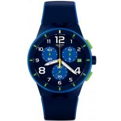 Orologio Uomo Swatch Chrono Plastic Bleu Sur Bleu SUSN409 Cronografo